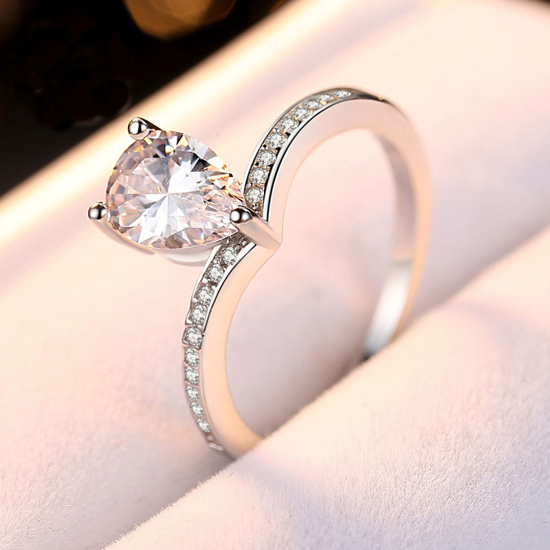 Women Ring Solid 925 Sterling Silver Jewelry Cubic Zircon Bridal Wedding Band Women Stylish Water drop Engagement Ring for Lover in Engagement Rings from Jewelry Accessories