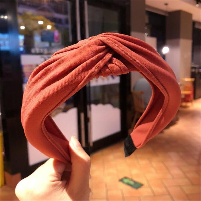 1 pc femmes lunette mode Style coréen bandeau femme filles décontracté élégant tissu croix couleur uni cheveux accessoires chapeaux 28