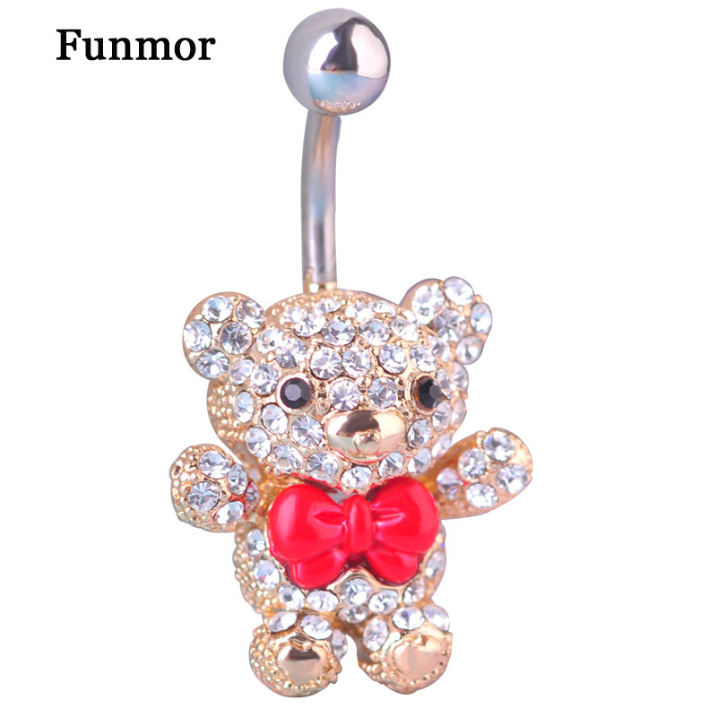 Red Bow Tie Little Bear Navel Belly Button Rings 316L Surgical Steel Kawaii Piercing For Women 14G 1.6mm Bar Sexy Body Jewelry(China)
