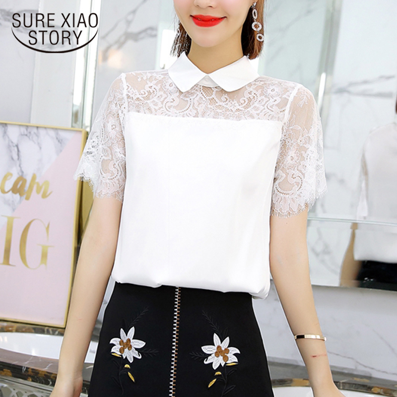 New 2018 Summer Lace White Chiffon Women   Blouses     Shirt   Solid Hollow   Shirt   Short Sleeve Female Tops Clothing Blusas 0106 30