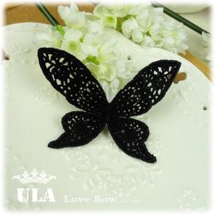 Wholesale applique butterfly designs DIY Decoration Lace Fabric Paste Decoraive Cloth Paste black Lace Applique 40pcs/lot