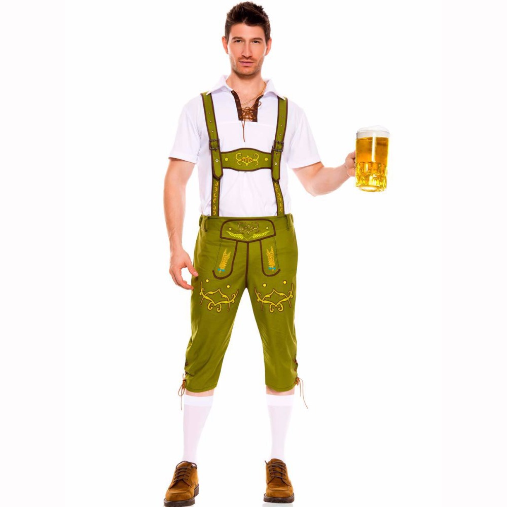 2017 Limited Naruto Man Oktoberfest Costumes For Octoberfest Bavarian Beer Party Clothes Lederhosen And Top Adult Men Plus Size