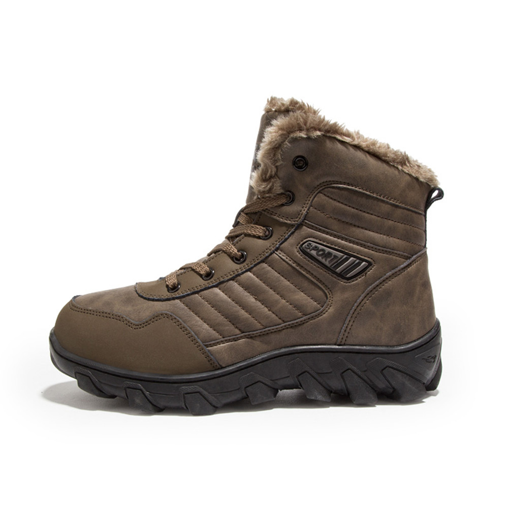 Winter Mens Boots Warm Comfortable Safety Shoes Non-slip Men Waterproof Work Shoes With Fur Walking Snow Boots