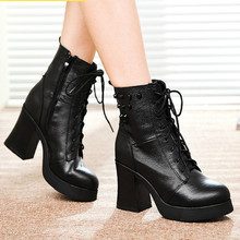 2016 New Winter Female Martin Boots Thick with High-heeled Shoes Women Fashion Rivet Waterproof Women Motorcycle Martin Boots