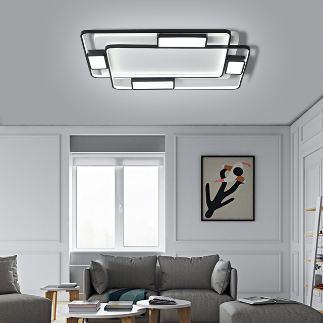 Chandelier Lighting for living room bedroom Lustre Modern Chandelier AC85-265V lamparas de techo Black Rectangle Chandelier lamp