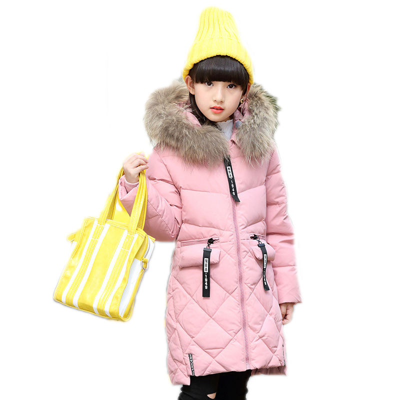 2018 Letter Zipper Winter Girls Down Jackets Long Warm Girl Thick Coat Outerwear Big Hooded Fur Collar Children Parka Overcoats winter girl jacket children parka winter coat duck long thick big fur hooded kids winter jacket girls outerwear for cold 30 c