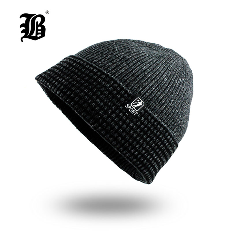 [FLB] Men's winter hat fashion knitted black hats Fall Hat Thick and warm and Bonnet   Skullies     Beanie   Soft Knitted   Beanies   F18044