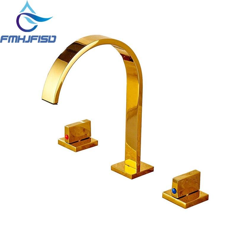 Widespread Golden Brass Bathroom Basin Faucet Dual Handles Vanity Sink Mixer Tap