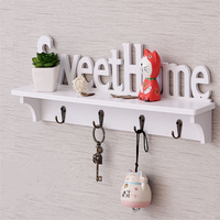 DIY hollow wood Sweet Home wall shelf with hooks white coat hat clothes storage rack key holder organizer home decor