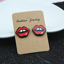 Fashion Sexy Lips Letter Cute Heart Stud Earrings For Women Gift Night Club Punk Jewelry Accessories  e098