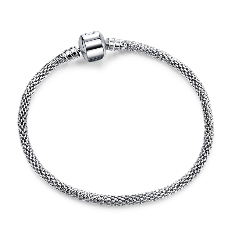 Новинка, браслет с подвеской из розового золота с Микки-Маусом, цепочка со змеей, подходит для Pan, базовые браслеты для модных женщин, бусины, сделай сам, ювелирное изделие - Окраска металла: NSL008