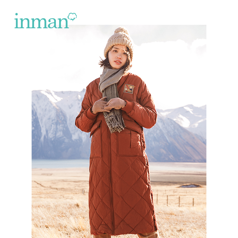 INMAN 2018 Winter Stand Collar Rhombic Lattice Embroidery Women Causal Warm Long Down Coat Outerwear