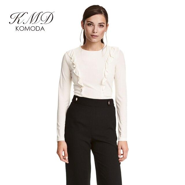 KMD KOMODA Women T-shirt Solid White Frills Full Sleeve Crew Neck Cute Tee Streetwear Elegant Casual Basic Brief Top