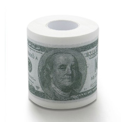 1 Roll  Creative Funny 100 Bill Printed Toilet Paper Bathroom Supplies Dollar Patterns  Napkins Tissue Money Roll Gag Gift