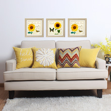 Yellow cotton wool embroidery sun flower towel embroidered sofa cushion cover  Home Decorative Sofa Throw Pillows