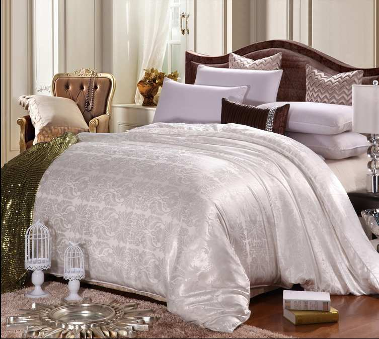 jacquard cover 100 silk for king queen handmade bedding 4 color