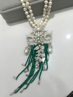 Vintage victoria natural fresh water pearl necklace double layers green stone tassels 925 sterling silver 5