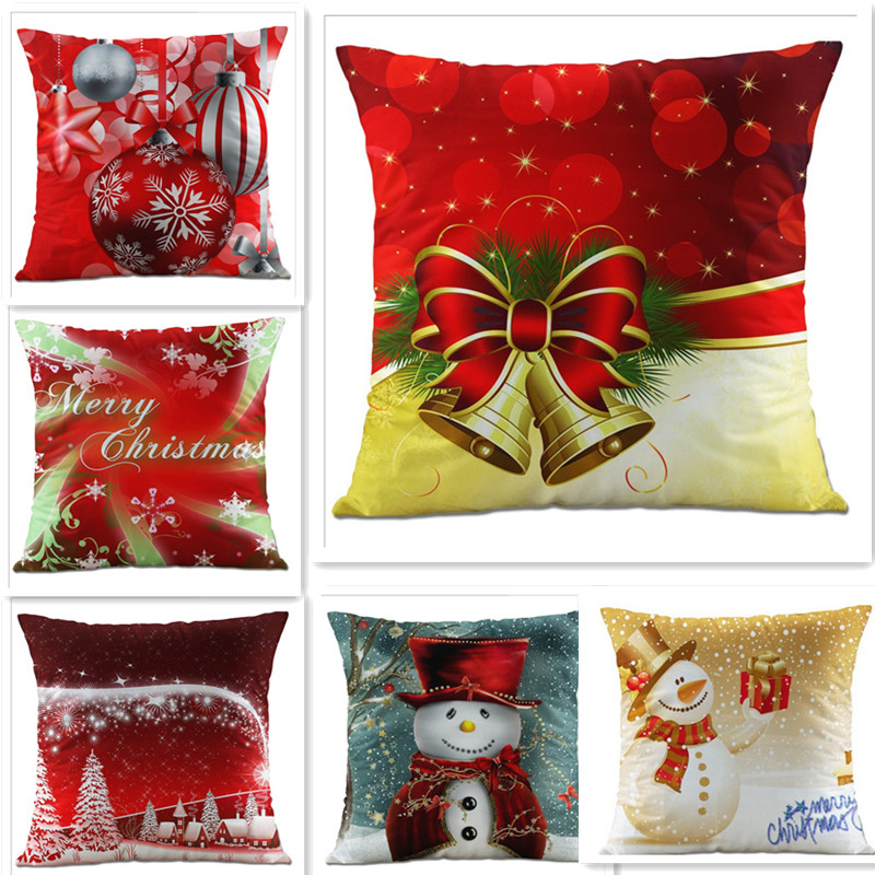 Christmas Pillow case cover 45*45 Short plush Cotton Pillow case Plant sofa Car Geometry Baby Sofa home Decoration Gift