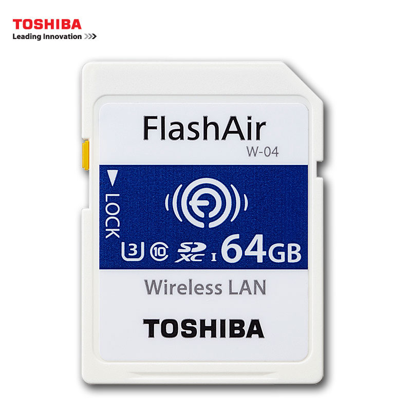 TOSHIBA W 04 Memory Card Wireless LAN 64GB 32GB 16GB WI FI SD Card U3 UHS Speed Class 3 FlashAir ...