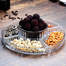 Living room coffee table large glass fruit platter creative crystal KTV fruit plate with shelf set sashimi fruit plate ZP3181747