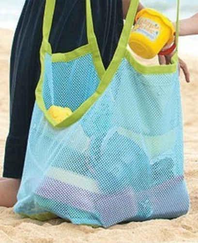 Azul Claro Lomire Bolsa de Malla de Arena Grande Duradero Bolsa Playa Plegable Mochila de Playa con Cord/ón Ni/ño para Meter los Juguetes de Playa y Piscina