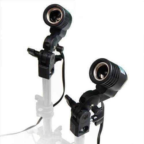 2 PCS Photography Studio Lamps Photo Umbrella Holder for E27 Bulb AC Socket Light Stand Mount Compatible for Light Stand Holder