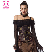 Plus Size Waist Trainer Corset Steampunk Couture Steel Boned Underbust Corsets And Bustiers Victorian Vintage Gothic Clothing