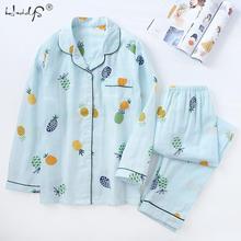 2019 New Japanese Simple Long Sleeve Pyjamas Women 100% Cotton Pajama Sets Ladies Cute Cartoon Sleepwear Winter Womens Homewear