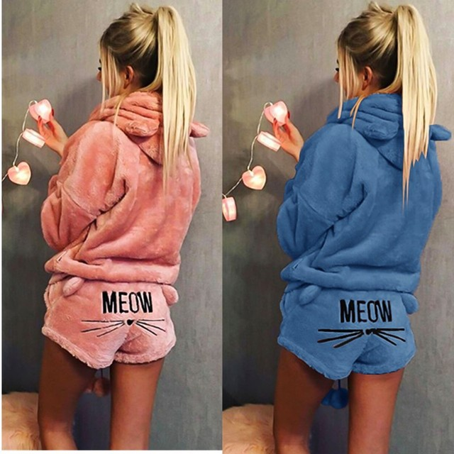 Autumn Winter Women Pajama Sets Flannel Cute Cartoon Cat Pajamas Sleepwear Suit Thick Warm Long Sleeve Hooded Female Homewear PJ