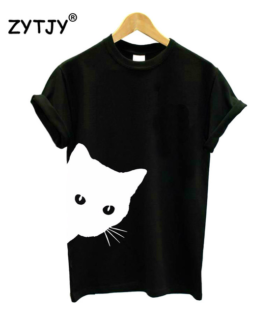 cat looking out side Print Women tshirt Cotton Casual Funny t shirt For Lady Girl Top Tee Hipster Tumblr Drop Ship Z-1056