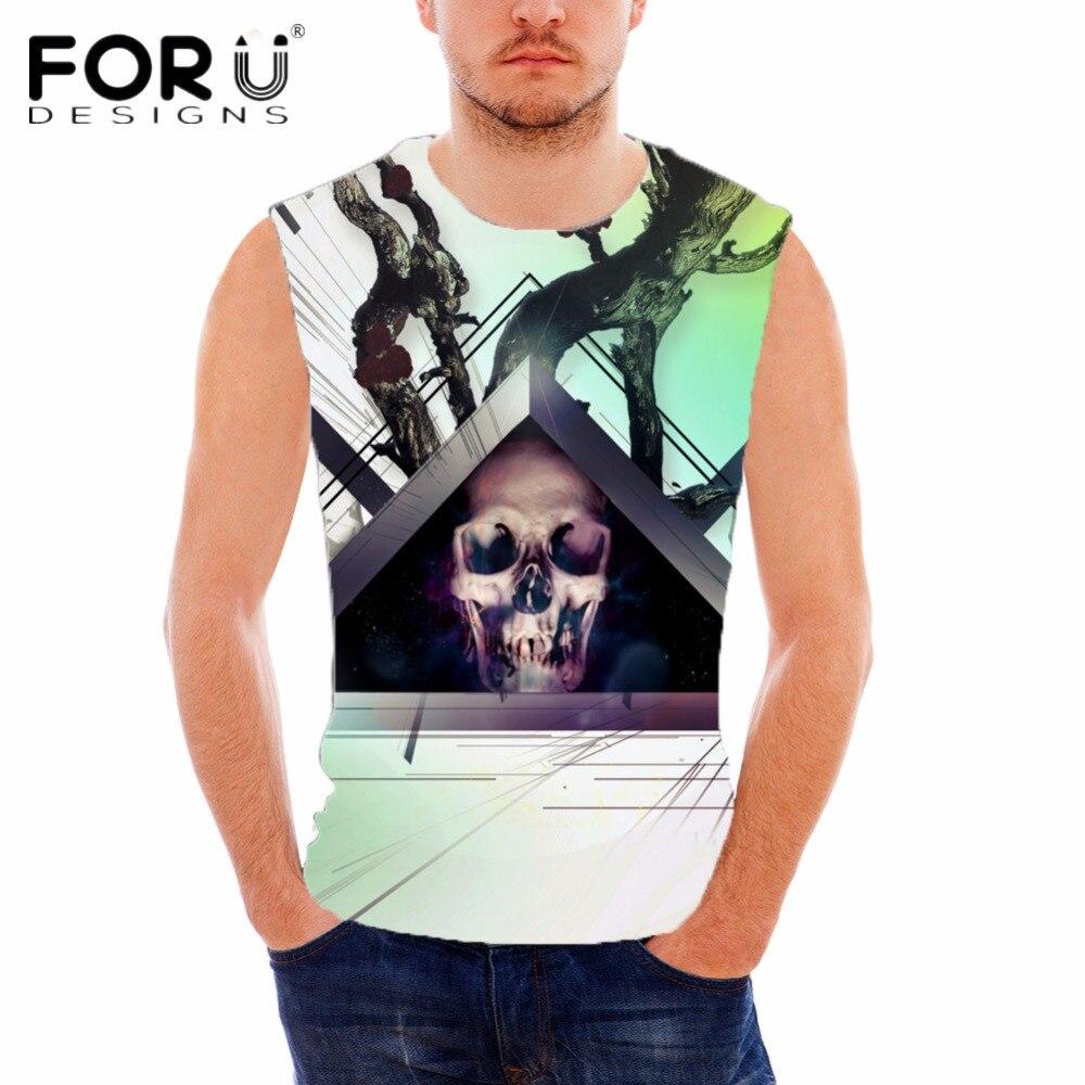 FORUDESIGNS Punk Skulls Designer Cotton Tank Top para hombre de - Ropa de hombre - foto 4