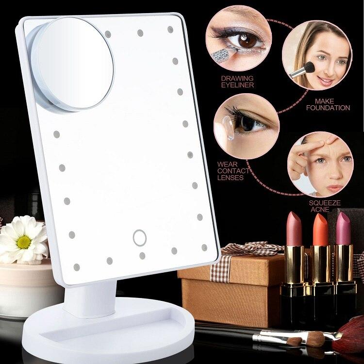 100% QualitäT Led Touchscreen Make-up Spiegel Professionelle Eitelkeit Spiegel + 22 Led-leuchten Gesundheit Schönheit Einstellbare Arbeitsplatte 180 Rotierenden