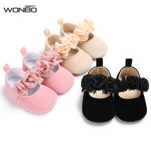 Lovely Floral Baby Newborn Toddler zapatos baby Crib Shoes Pram Soft Sole Prewalker Anti-slip Baby Shoes girls 0-18M(China)