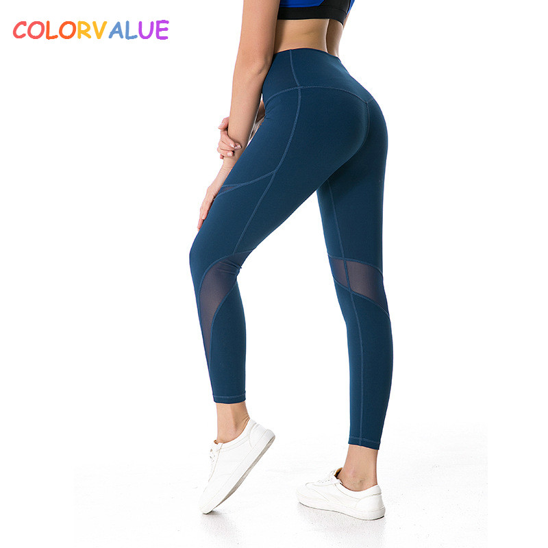 Colorvalue High Flexible Sport Fitness Leggings Women V-shape Push Up Butt Gym Athletic Tights Mesh Patchwork Yoga Workout Pants colorvalue solid sport fitness leggings women high stretchy yoga pants nylon mesh gym athletic leggings with triangle crotch