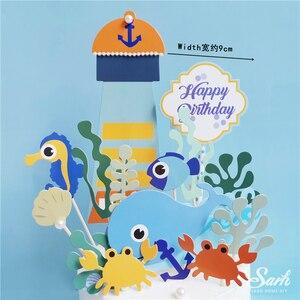 Image 5 - אוקיינוס בת ים אצות עוגת Toppers שמח יום הולדת כוכב ים קישוט לילדים של יום אפיית ספקי צד יפה מתנות