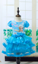 цены New Dress Girl Child Clothes Anna Elsa Girl Baby Clothing Child Princess Vestidos Infantis Kids Birthday Party Dress