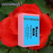VICKYWINSON 100% Natural herbal rose essential oil whitening skin lightening soap Rose Handmade 50g