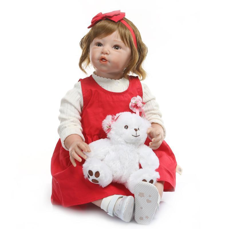 80 cm reborn poupée enfant en bas âge doux silicone vinyle reborn fille poupée réel doux toucher 28 pouces enfants cadeau jouet poupées