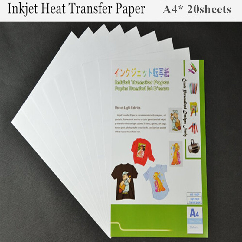(A4*20pcs) Light Color Inkjet Heat Transfer Printing Paper Fabric Transfer Paper For Cotton Thermal Transfer Paper Papel HT-150P