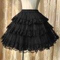 Черный Многослойные Цветочные Кружева и Тюль Юбки Женщин Юбки Лолита Нижняя Микро-Мини-Юбки Сексуальное платье Танцевальная Одежда