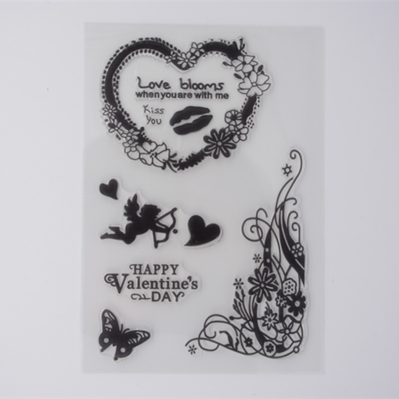 WooFun Store New Scrapbook DIY Photo Album Cards Transparent Acrylic Silicone Rubber Clear Stamps Sheet Happy Valentine's Day Love Bloom