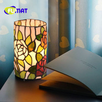 FUMAT Tiffany Rose Warm Cylinder Mother and Child Plug in Night Light Stained Glass Shade handmade Creative bedroom bedside Lamp