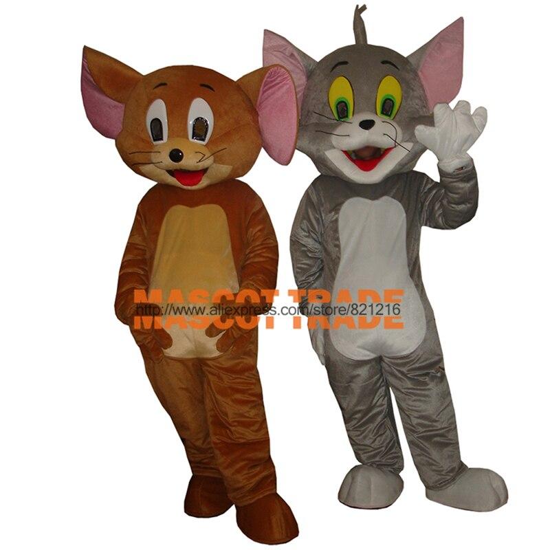 Jerry Maus Tom Katze Cartoon Maskottchen Kostüm Für Halloween Party-event