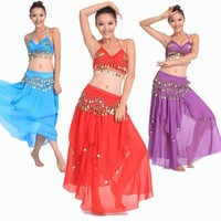 2015 New 3pcs Belly Dance Costume Bollywood Costume Indian Dress Bellydance Dress Womens Belly Dancing Costume