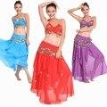 2015 nuevo 3 unids bellydance traje de la danza del vientre traje indio de bollywood dress dress womens danza del vientre traje conjuntos tribales