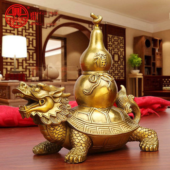 19 CM # # Office home store efficacious Talisman Protection Money Drawing FENG SHUI Dragon Turtle  calabash Mascot Brass statue