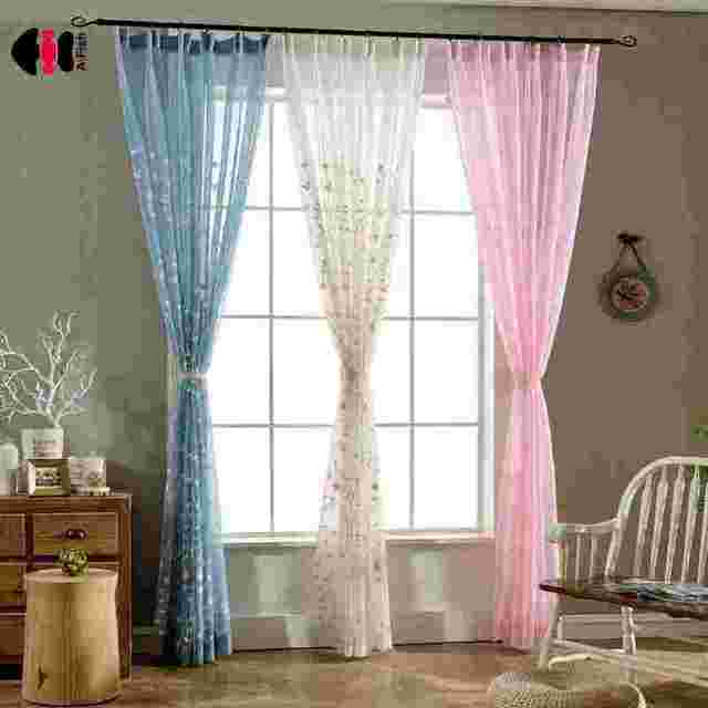 Multiple Color White Blue Pink Pastoral Small Fresh Flowers Embroidered Voile Curtains For Living Room Bedroom
