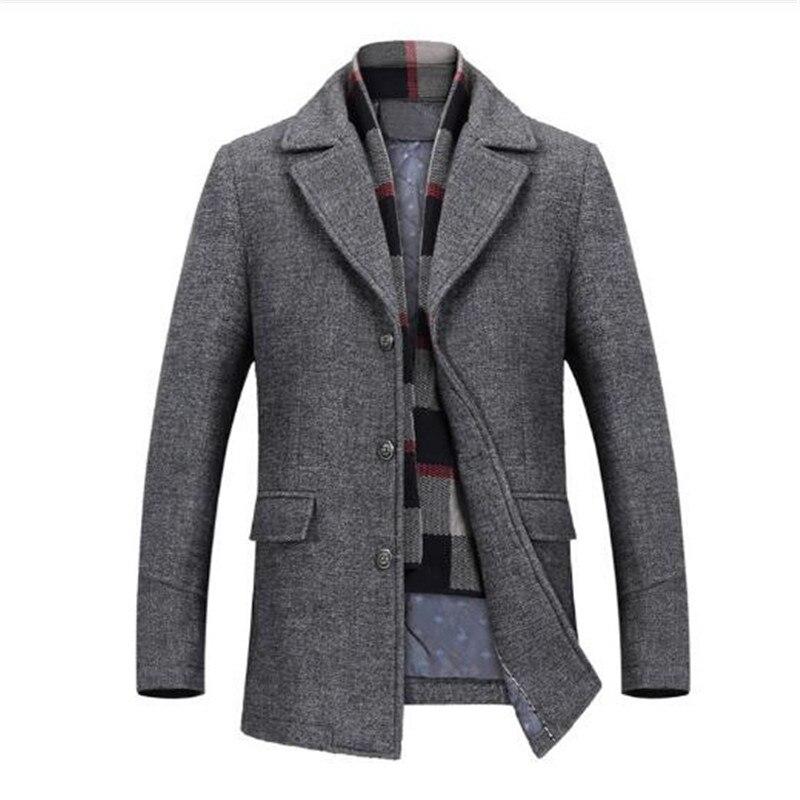 Cappotto Sottile gray Lungo Brown Autunno Uomo Giacca Tratto Vento Modo  Inverno Casuale Lana Affari Di ... 8c0bb42cecc