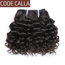 Код Калла короткий-cut человеческие волосы предварительно цветные натуральные волосы 6 дюймов малазийские кудрявые Вьющиеся Weave 6 шт. может