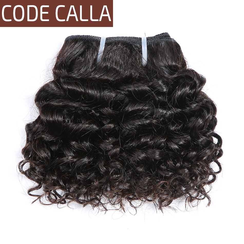 Code Calla Short-cut Human Hair Pre-Colored Raw Virgin Hair 6 Inch Malaysian Kinky Curly Weave 6PCS Can Make A Wig Free Shipping